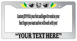 Chrome License Plate Frame Custom saying and color JDM Auto Accessory Novelty