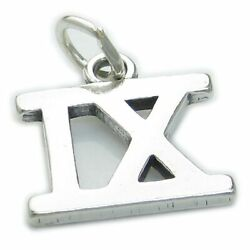 Roman Numeral Number 9 Sterling Silver Charm .925 X1 Ix Numerals Charms