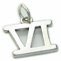 Roman Numeral Number 6 Sterling Silver Charm .925 X 1 Vi Numerals Charms
