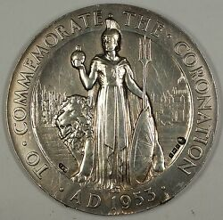 1953 Large Silver Coronation Queen Elizabeth Ii Medal 5.7 Ozt W/ Counter Marks
