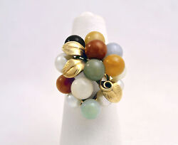 Ming's Honolulu 5 Akoya Pearls And 9 Jade 6mm Balls 14k Gold Ring Size 5.5