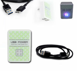 100 4 Usb Port Hub Wall Adapter+3ft Micro 3.0 Superspeed Power Cables Cord Black