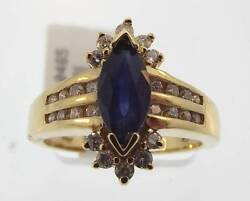 14kt Yellow Gold 1.40 Cttw Blue Sapphire And Diamond Ring Size 7 34r 140-10465