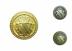 Metal Blazer Patriotic Military Shield Buttons - Gold Antique Silver Or Bronze