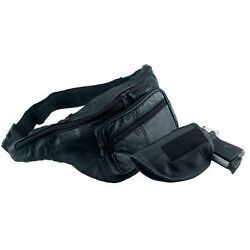 CCW FANNY PACK Black Solid Leather w GUN HOLSTER Concealed Carry Waist Belt Bag