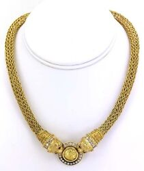 DESIGNER ZOLOTOS 18K YELLOW GOLD DIAMONDS & COIN LADIES DRESS COCKTAIL NECKLACE