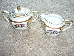 Vintage Noritake Handpainted Green Wreath With M Cream And Sugar Bowl W Lid