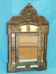 Magnificent 19c Napoleon Iii Repousse Cushion Mirror With Angel Head