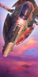 Star Wars Boba Fett Sunset Spaceship Departure From Could City Giclandeacutee On Canvas