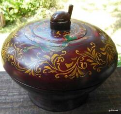 Hand Made Wood Folkart Bowl On Pedestal / Lid Hand Painted Turtle Finial 8