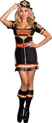 Smokinand039 Hot Fire Dept Womenand039s Adult Costume Sexy Black Fancy Dress Dream Girl