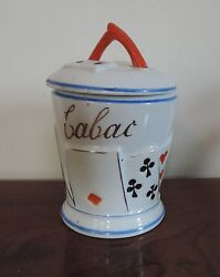 Antique Porcelain Tobacco Jar Playing Cards, Dominoes Coral Lid Tabac Paris Pipe