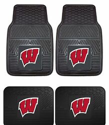 Wisconsin Badgers Heavy Duty Floor Mats 2 And 4 Pc Sets For Cars Trucks And Suvand039s
