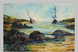 Original 1989 French Oil Painting On Canvas Impressionism Artist Francois Cortes