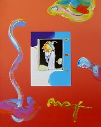 Peter Max Standing Angel Unique Variation Orig. Mixed Media Hand Signed 16x20
