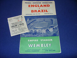 England V Brazil 1956 Programme And Ticket Signed Busby Babes + Wright Haynes