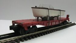 Lionel 6801 O Gauge Flat Car With Brown Hull Boat
