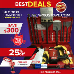 Hilti Te 75 Hammer Drill Preowned Complete Set Free Lots Of Extras Fast Ship