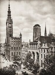 1924 GERMANY Dantzic Hall Church Clock People Horse Cityscape Photo By HIELSCHER