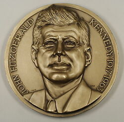John F. Kennedy High Relief Large Silver Plated 4 Inaugural Medal By C. Affer