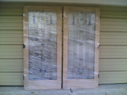 New Elegant Double Solid-oak Interior Doors W/ Full-view Tempered Stained Glass