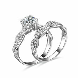 2PC 925 STERLING SILVER WEDDING BAND CZ ENGAGMENT RING GUARD SET SIZE 3 12 SS028 $23.99