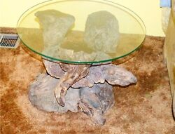 50s craftsman designed rare one of a kind coffee and end tables with glass