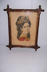 Antique Currier And Ives Beauty Of The South-west In Carved Leaf Adirondack Frame