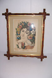 Antique Currier And Ives In Full Bloom In Wooden Carved Leaf Adirondack Frame