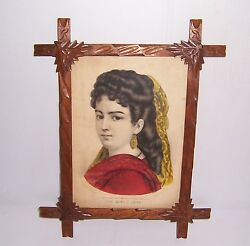 Antique Currier And Ives The Girl I Love In Wooden Carved Adirondack Frame