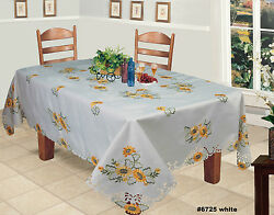 Embroidered Sunflower Cutwork Tablecloth And Napkins White Holiday Creative Linens