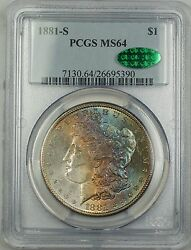 1881-s Morgan Silver Dollar 1 Pcgs Cac Ms64 Gorgeous Rainbow Toned