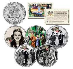 Wizard Of Oz Movie Colorized Jfk Half Dollar Us 5-coin Set Officialy Licensed