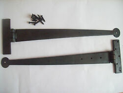 18 Hand Forged Cast Iron Penny End Black Beeswax Door Gate Tee T Hinges