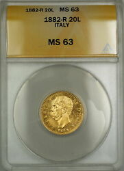 1882-r Italy 20l Lire Gold Coin Anacs Ms-63