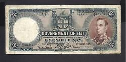 Fiji P-37a Vf 5 Shillings 1937 Kgvi First Issue Date