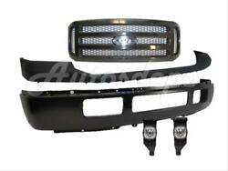 For 2005-2007 SUPER DUTY F250 F350 FRONT BUMPER PAD TXT GRILLE BLK FOG LIGHT 5PC