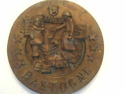 1944 Wwii General Patton Battle Of Bulge At Bastogne Brass Commerative Plaque