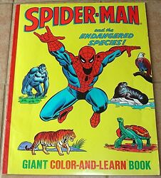 Amazing Spiderman Giant Color And Learn Book Endangered Species Vg 1978 Coloring