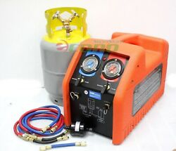 Portable 12 HP  HVAC AC Refrigerant Recovery Machine Kit R134A R410A R12 R22