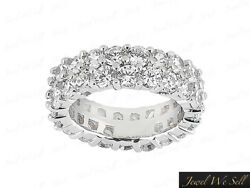 6CT Diamond Staggered 2Row Shared Prong Eternity Band Ring 14k White Gold G SI1