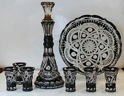 Wine Set Royal Black- Decanter, 6 Shot Glasses And Tray Cased Crystal Russia New