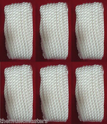 6 White Twisted 3 Strand 3/8 X 25' Ft Hq Boat Marine Dock Lines Mooring Ropes