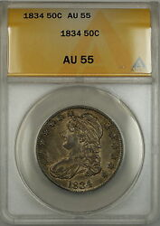1834 Capped Bust Silver Half Dollar 50c Anacs Au-55 Better Coin