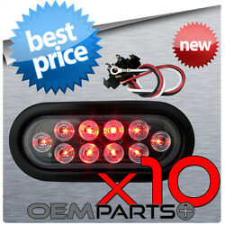 10x New 6 Red Led Oval Sealed Turn Signal Stop Tail Light Truck Trailer Rv Plug