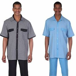 Menand039s Shore Sleeves Checks Solid Long Pants Two Piece Set Walking Suit M 2953