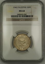 1940 Palestine 50m Fifty Mils Silver Coin Ngc Ms-64 Very Choice Bu
