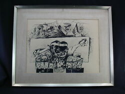 A Large Framed Hans Burkhardt Abstract Drawing, Gift To Henry A. Kissinger