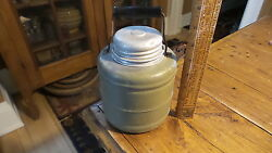 Antique Miniature Thermos Jug, Army Green Color, 6 1/2 Tall