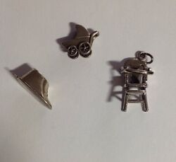 3 Vintage Sterling Baby/child Charms 2 Beau, 1 Articulated Great Price Free Ship